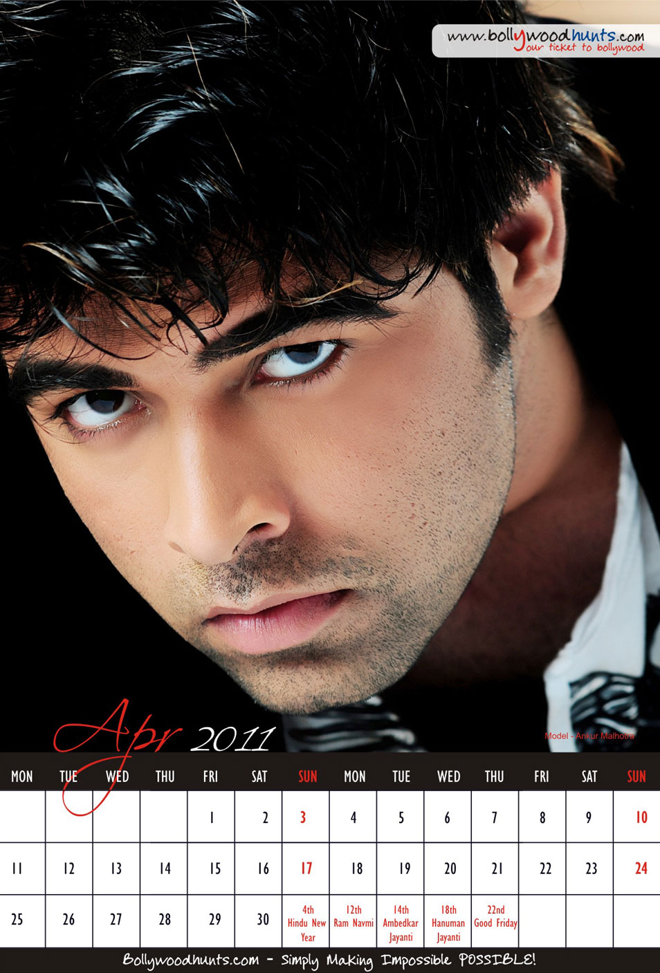 Bollywood Models Wall Calendar : Apr 2011